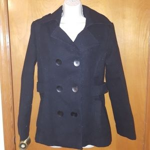 Hydraulic Pea Coat with Black Buttons